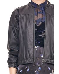 Rebecca Taylor - Black Leather Bomber Jacket - Lyst