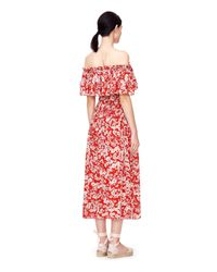 Rebecca Taylor - Red Off-the-shoulder Cherry Blossom Dress - Lyst