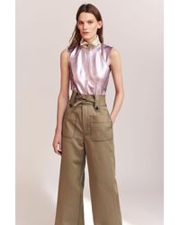Rebecca Taylor - Green Belted Cotton Twill Trouser - Lyst