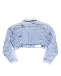 Re/done - Blue Cropped Sherpa Denim Jacket - Lyst