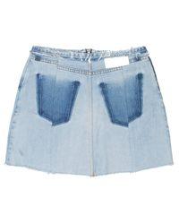 Re/done - Blue Raw Edge Mini Skirt - Lyst