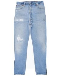 Re/done - Blue High Rise Ankle Zip - Lyst