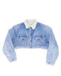 Re/done - Blue Cropped Sherpa Denim Jacket - Lyst
