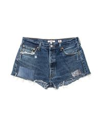 Re/done - Blue Re/pair Shorts - Lyst