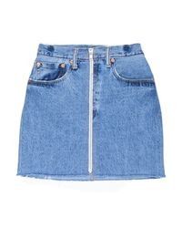 Re/done - Blue High Waisted Pencil Skirt - Lyst