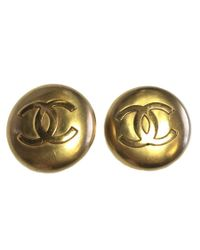 Chanel - Metallic Earrings Clips Golden - Lyst
