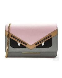 7a355a322f Lyst - Fendi Bag Bugs Wallet On Chain in Brown