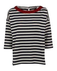 Moncler - Blue Striped Cotton T-shirt - Lyst