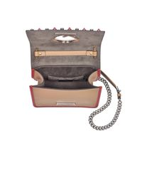 Fendi - Yellow Kan I F Small Sand And Red Leather Crossbody Bag W/studs - Lyst