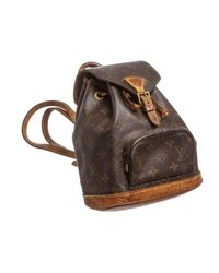 Louis Vuitton - Brown Monogram Canvas Leather Mini Montsouris Backpack Bag - Lyst