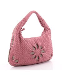 Bottega Veneta - Pink Veneta Hobo Cut Out Intrecciato Nappa Medium - Lyst