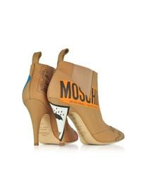 Moschino - Natural Beige Label Printed Leather Booties - Lyst