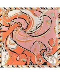 Emilio Pucci - Multicolor 90x90 Cm Nastri Print Scarf In Pink And Orange Twill Silk - Lyst