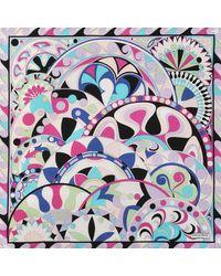 Emilio Pucci - Multicolor 90x90 Cm Nigeria Print Scarf In Lilla Twill Silk - Lyst