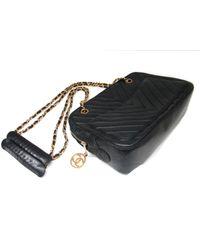 Chanel - Vintage V Stitch Chain Shoulder Bag Lambskin Leather Black - Lyst