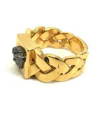 Versace - Metallic Medusa Bridged Men's Ring Ring Gold/black for Men - Lyst