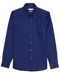 Reiss - Blue Mayor Slim Linen Shirt for Men - Lyst