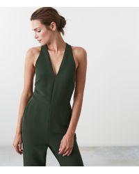 Reiss - Green Naddia - Strappy Plunge Jumpsuit - Lyst