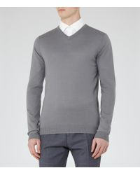 Reiss | Gray Emporer Merino V-neck Jumper for Men | Lyst