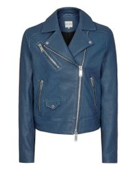 Reiss - Blue Favour Textured Leather Biker Jacket - Lyst