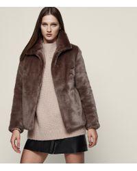 Reiss - Brown Orsa Faux Fur Coat - Lyst
