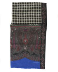 Etro - Paisley And Checked Print Black Scarf for Men - Lyst