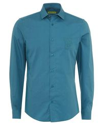 Versace Jeans - Shirt Blue Slim Fit Cotton Plain Shirt for Men - Lyst