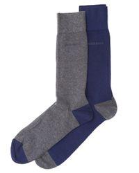 BOSS Black - Gray 2p Rs Heel&toe Cc Twin Pack Contrast Purple Grey Socks for Men - Lyst