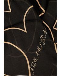 Armani - Gray Heart Outline Pattern Grey Beige Scarf - Lyst