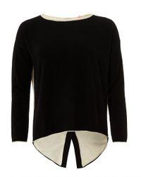 Cocoa Cashmere - Claire Jumper, Button Back Black Cream Sweater - Lyst