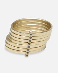 Lizzie Mandler - Metallic 7-day Ring With Black Diamonds - Lyst