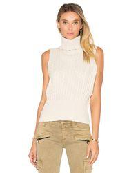 525 America - Black Cable Rib Sleeveless Crop Sweater - Lyst
