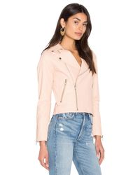 Harlow Leather Jacket in Pink Steele Discount Visit Manchester Great Sale For Sale Comfortable Cheap Online 9xSlq42aC