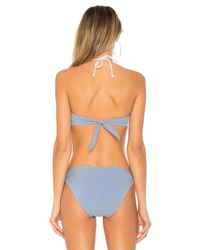 Shoshanna Blue Creek Denim Bikini Top