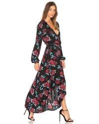 Splendid - Black Floral Print Heavy Crepe Wrap Dress - Lyst
