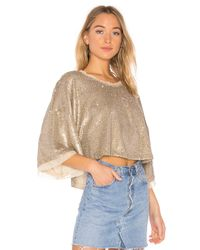 Free People - Multicolor Champagne Dreams Tee In Metallic Silver - Lyst