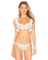 For Love & Lemons | White Corsica Lacey Ruffle Top | Lyst