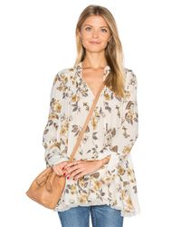 Free People   Blue Pebble Crepe So Fine Smocked Tunic Top   Lyst