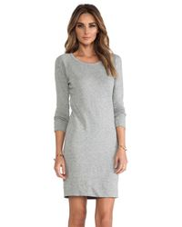 James Perse | Gray Raglan Sweatshirt Dress | Lyst