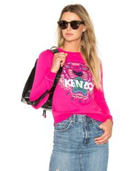 KENZO   Pink Embroidered Tiger Pullover   Lyst