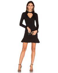 Nicholas | Black Long Sleeve Diamond Cut Out Ponti Dress | Lyst