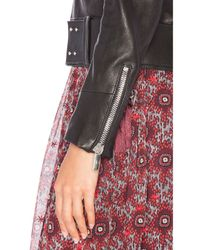 Nour Hammour - Black Nada Fox-Fur Collar Leather Jacket - Lyst