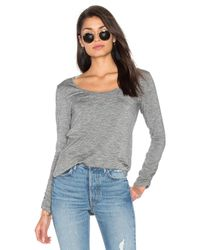 Splendid | Gray Heathered Slub Long Sleeve Top | Lyst