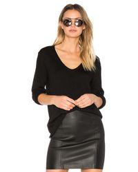 T By Alexander Wang | Black Merino Jersey V Neck Pullover | Lyst