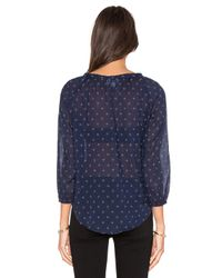 Velvet By Graham & Spencer - Multicolor Berlina Printed Cotton Voile V-neck 3/4 Sleeve Top - Lyst