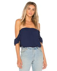 Krisa - Blue Ruffle Off Shoulder Top - Lyst