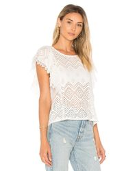Ella Moss - Natural Pleated Lace Top - Lyst