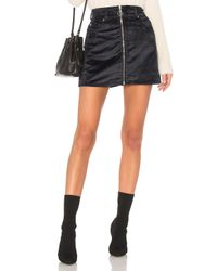 7 For All Mankind - Blue Zip Front Mini Skirt In Navy - Lyst