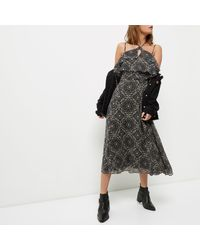 River Island - Purple Tile Print Cold Shoulder Midi Dress - Lyst