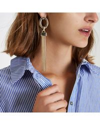 River Island - Metallic Gold Tone Drop Tassel Earrings - Lyst